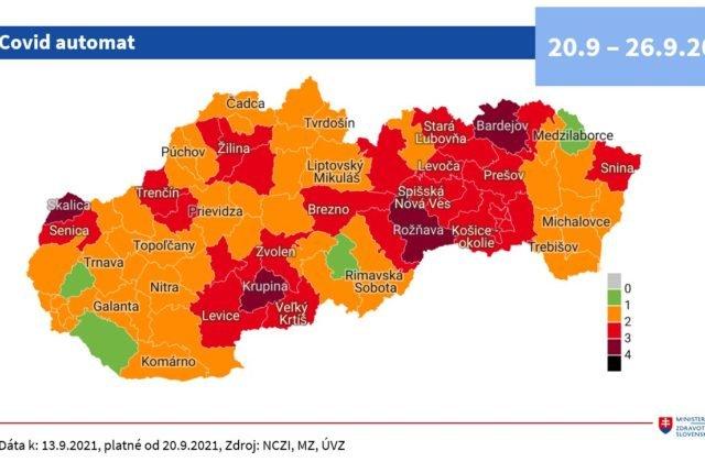 Od pondelka budú na Slovensku štyri bordové okresy, počet červených sa zvýšil na 27 a zelené ostanú len štyri